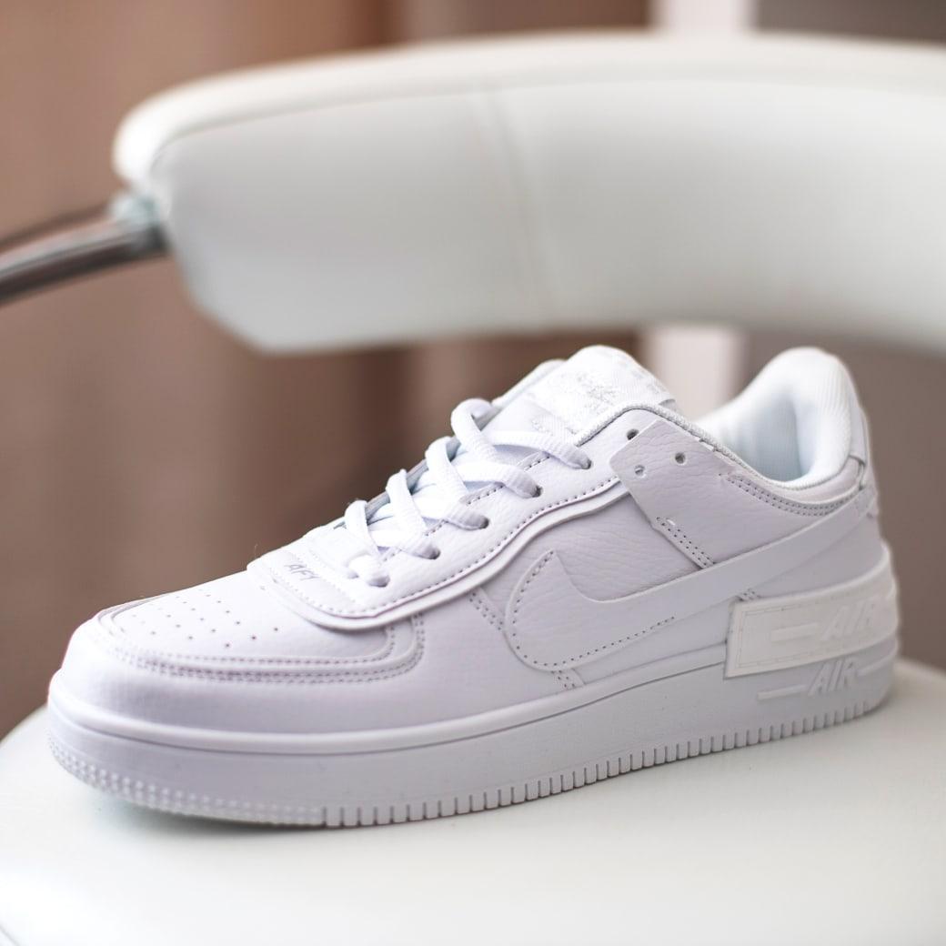 Nike Air Force Shadow  Женские осенние белые кожаные кроссовки. Женские кроссовки на шнурках