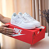 Nike Air Force Shadow  Женские осенние белые кожаные кроссовки. Женские кроссовки на шнурках, фото 2