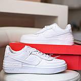 Nike Air Force Shadow  Женские осенние белые кожаные кроссовки. Женские кроссовки на шнурках, фото 3