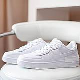 Nike Air Force Shadow  Женские осенние белые кожаные кроссовки. Женские кроссовки на шнурках, фото 4
