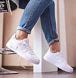 Nike Air Force Shadow  Женские осенние белые кожаные кроссовки. Женские кроссовки на шнурках, фото 6