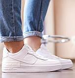 Nike Air Force Shadow  Женские осенние белые кожаные кроссовки. Женские кроссовки на шнурках, фото 8