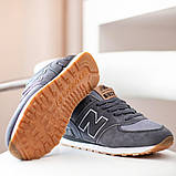 New Balance 574  Женские осенние серые замшевые кроссовки. Женские кроссовки на шнурках, фото 2