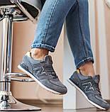 New Balance 574  Женские осенние серые замшевые кроссовки. Женские кроссовки на шнурках, фото 8