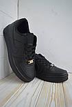 Nike Air Force  Женские осенние черные кожаные кроссовки. Женские кроссовки на шнурках, фото 10