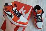 Nike Air Jordan Женские осенние красные кожаные кроссовки. Женские кроссовки на шнурках, фото 2