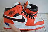 Nike Air Jordan Женские осенние красные кожаные кроссовки. Женские кроссовки на шнурках, фото 7