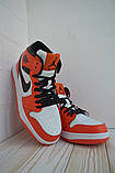 Nike Air Jordan Женские осенние красные кожаные кроссовки. Женские кроссовки на шнурках, фото 9
