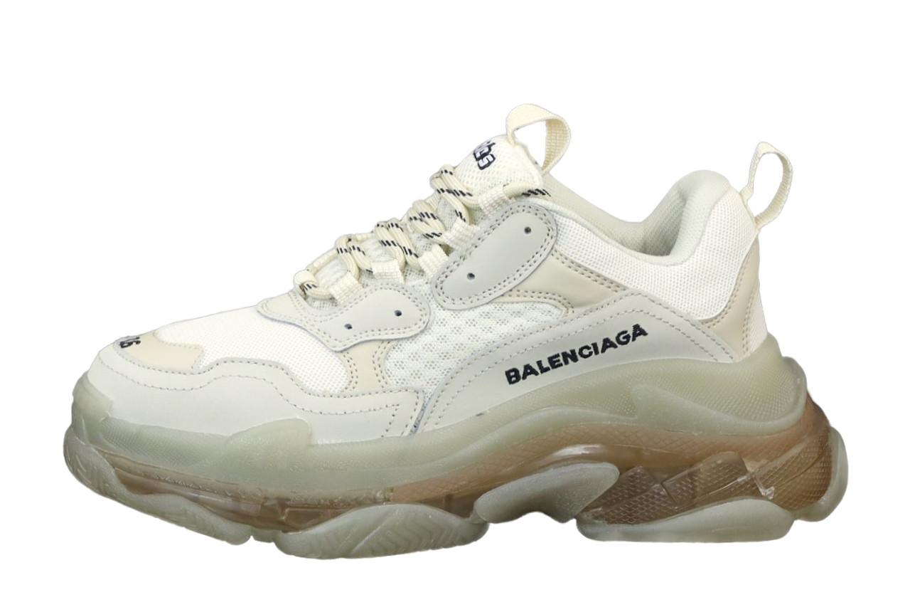 Balenciaga Triple S Женские осенние белые текстильные кроссовки. Женские кроссовки на шнурках