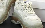 Balenciaga Triple S Женские осенние белые текстильные кроссовки. Женские кроссовки на шнурках, фото 6