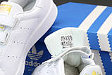 Adidas Stan Smіth  Женские осенние белые кожаные кроссовки. Женские кроссовки на шнурках, фото 6