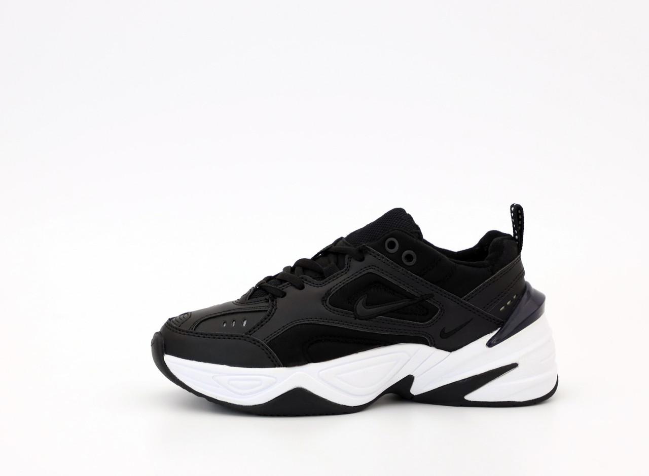 Nike M2K Tekno  Женские осенние черные кожаные кроссовки. Женские кроссовки на шнурках