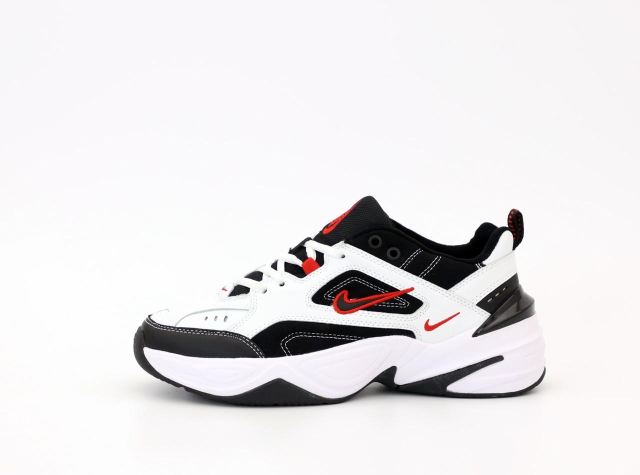 Nike M2K Tekno  Женские осенние бело-черные кожаные кроссовки. Женские кроссовки на шнурках