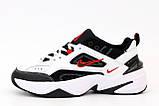 Nike M2K Tekno  Женские осенние бело-черные кожаные кроссовки. Женские кроссовки на шнурках, фото 4