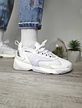 WMNS NIKE ZOOM 2K Женские осенние белые кожаные кроссовки. Женские кроссовки на шнурках, фото 2