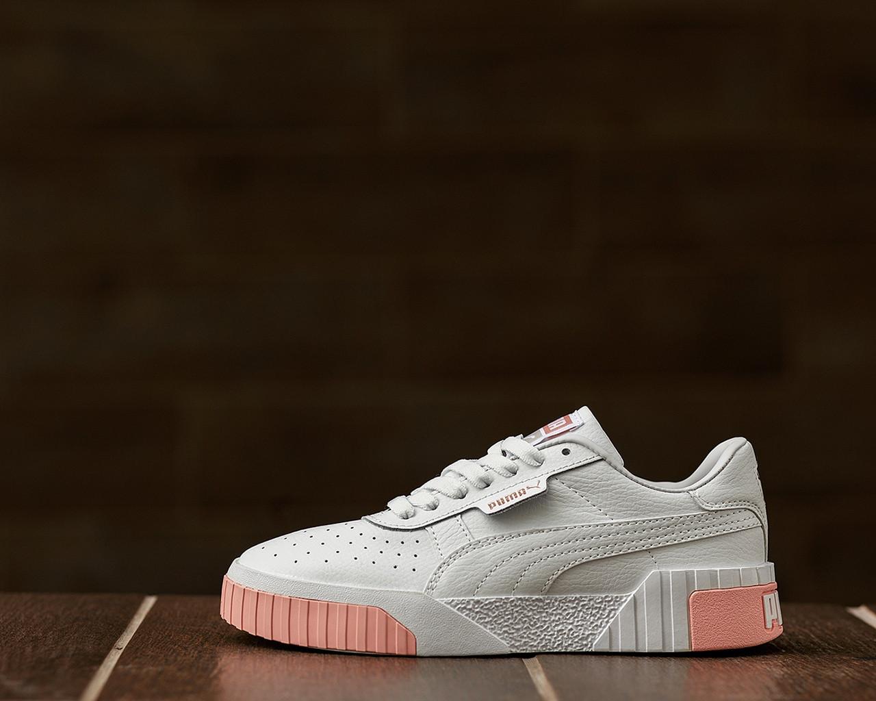 Puma Cali Женские осенние белые кожаные кроссовки. Женские кроссовки на шнурках