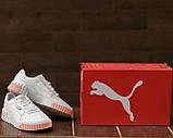Puma Cali Женские осенние белые кожаные кроссовки. Женские кроссовки на шнурках, фото 7