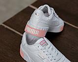 Puma Cali Женские осенние белые кожаные кроссовки. Женские кроссовки на шнурках, фото 8