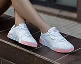 Puma Cali Женские осенние белые кожаные кроссовки. Женские кроссовки на шнурках, фото 9