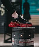 Balenciaga Triple S Clear Sole Женские осенние черные кожаные кроссовки. Женские кроссовки на шнурках, фото 3