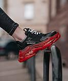 Balenciaga Triple S Clear Sole Женские осенние черные кожаные кроссовки. Женские кроссовки на шнурках, фото 4