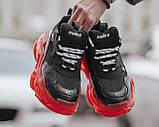 Balenciaga Triple S Clear Sole Женские осенние черные кожаные кроссовки. Женские кроссовки на шнурках, фото 5