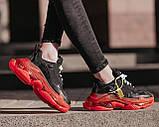 Balenciaga Triple S Clear Sole Женские осенние черные кожаные кроссовки. Женские кроссовки на шнурках, фото 6
