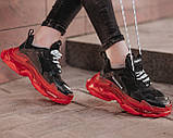 Balenciaga Triple S Clear Sole Женские осенние черные кожаные кроссовки. Женские кроссовки на шнурках, фото 7
