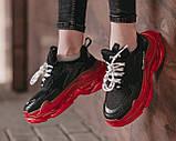 Balenciaga Triple S Clear Sole Женские осенние черные кожаные кроссовки. Женские кроссовки на шнурках, фото 9