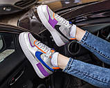 Nike Air Force Shadow  Женские осенние серые кожаные кроссовки. Женские кроссовки на шнурках, фото 8