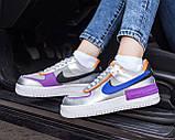 Nike Air Force Shadow  Женские осенние серые кожаные кроссовки. Женские кроссовки на шнурках, фото 9