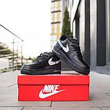Nike Air Force 1 Low Женские осенние черные кожаные кроссовки. Женские кроссовки на шнурках, фото 2