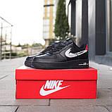 Nike Air Force 1 Low Женские осенние черные кожаные кроссовки. Женские кроссовки на шнурках, фото 3