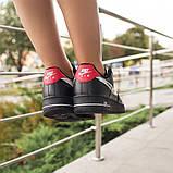 Nike Air Force 1 Low Женские осенние черные кожаные кроссовки. Женские кроссовки на шнурках, фото 4