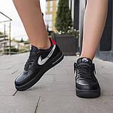 Nike Air Force 1 Low Женские осенние черные кожаные кроссовки. Женские кроссовки на шнурках, фото 5