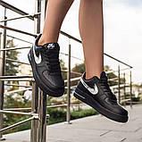 Nike Air Force 1 Low Женские осенние черные кожаные кроссовки. Женские кроссовки на шнурках, фото 6