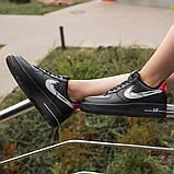 Nike Air Force 1 Low Женские осенние черные кожаные кроссовки. Женские кроссовки на шнурках, фото 7