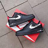 Nike Air Force 1 Low Женские осенние черные кожаные кроссовки. Женские кроссовки на шнурках, фото 8