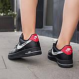 Nike Air Force 1 Low Женские осенние черные кожаные кроссовки. Женские кроссовки на шнурках, фото 9