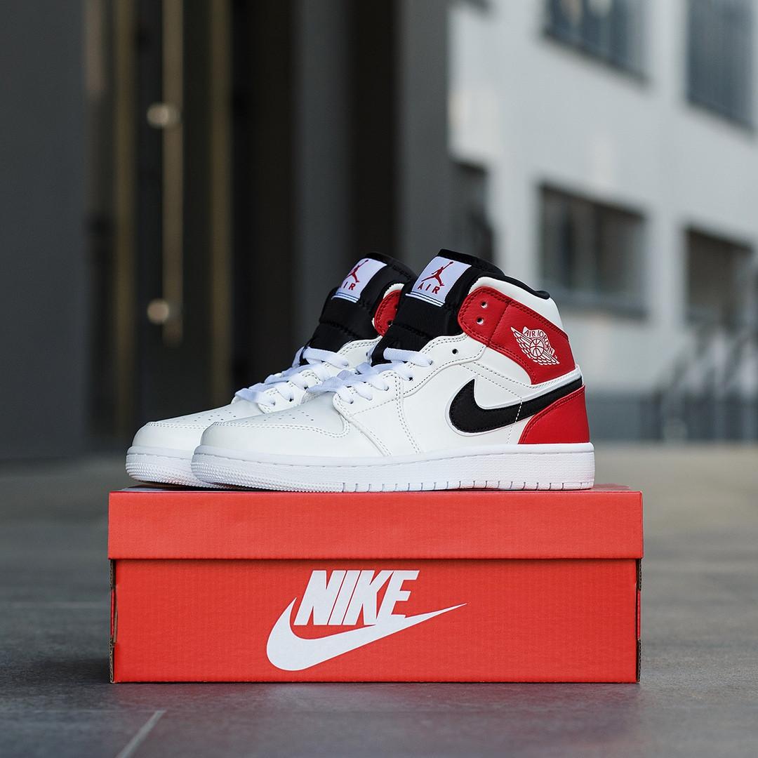 Nike Air Jordan 1 Mid Женские осенние белые кожаные кроссовки. Женские кроссовки на шнурках