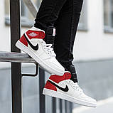 Nike Air Jordan 1 Mid Женские осенние белые кожаные кроссовки. Женские кроссовки на шнурках, фото 4
