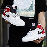 Nike Air Jordan 1 Mid Женские осенние белые кожаные кроссовки. Женские кроссовки на шнурках, фото 6