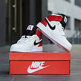Nike Air Jordan 1 Mid Женские осенние белые кожаные кроссовки. Женские кроссовки на шнурках, фото 7