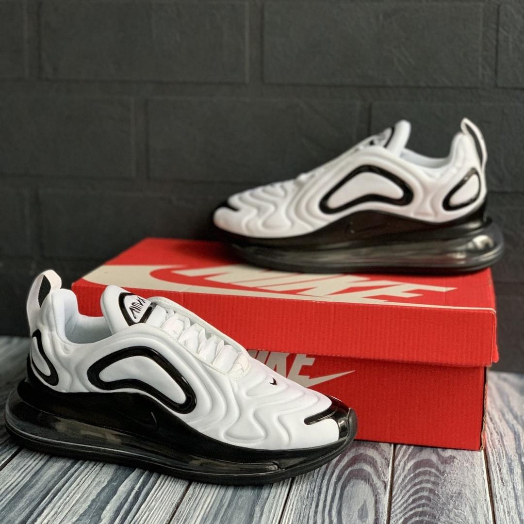 Nike Air Max 720   Женские Летние бело-черные текстильные кроссовки. Женские кроссовки на шнурках