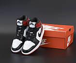Air Jordan 1 Retro Женские осенние черно-красные кожаные кроссовки. Женские кроссовки на шнурках, фото 6