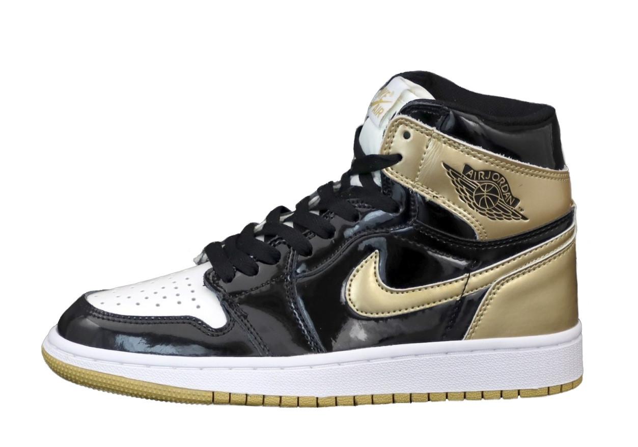 Air Jordan 1 Retro Женские осенние черно-золотые кожаные кроссовки. Женские кроссовки на шнурках
