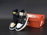 Air Jordan 1 Retro Женские осенние черно-золотые кожаные кроссовки. Женские кроссовки на шнурках, фото 4