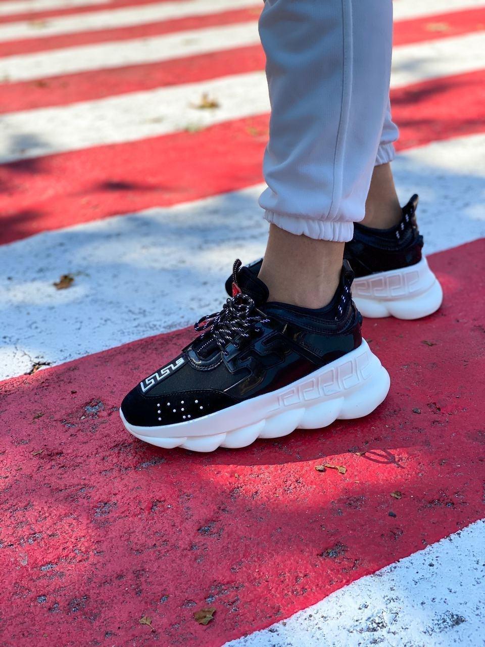 Versace Женские осенние черные текстильные кроссовки. Женские кроссовки на шнурках