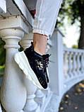 Versace Женские осенние черные текстильные кроссовки. Женские кроссовки на шнурках, фото 4