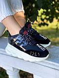 Versace Женские осенние черные текстильные кроссовки. Женские кроссовки на шнурках, фото 6